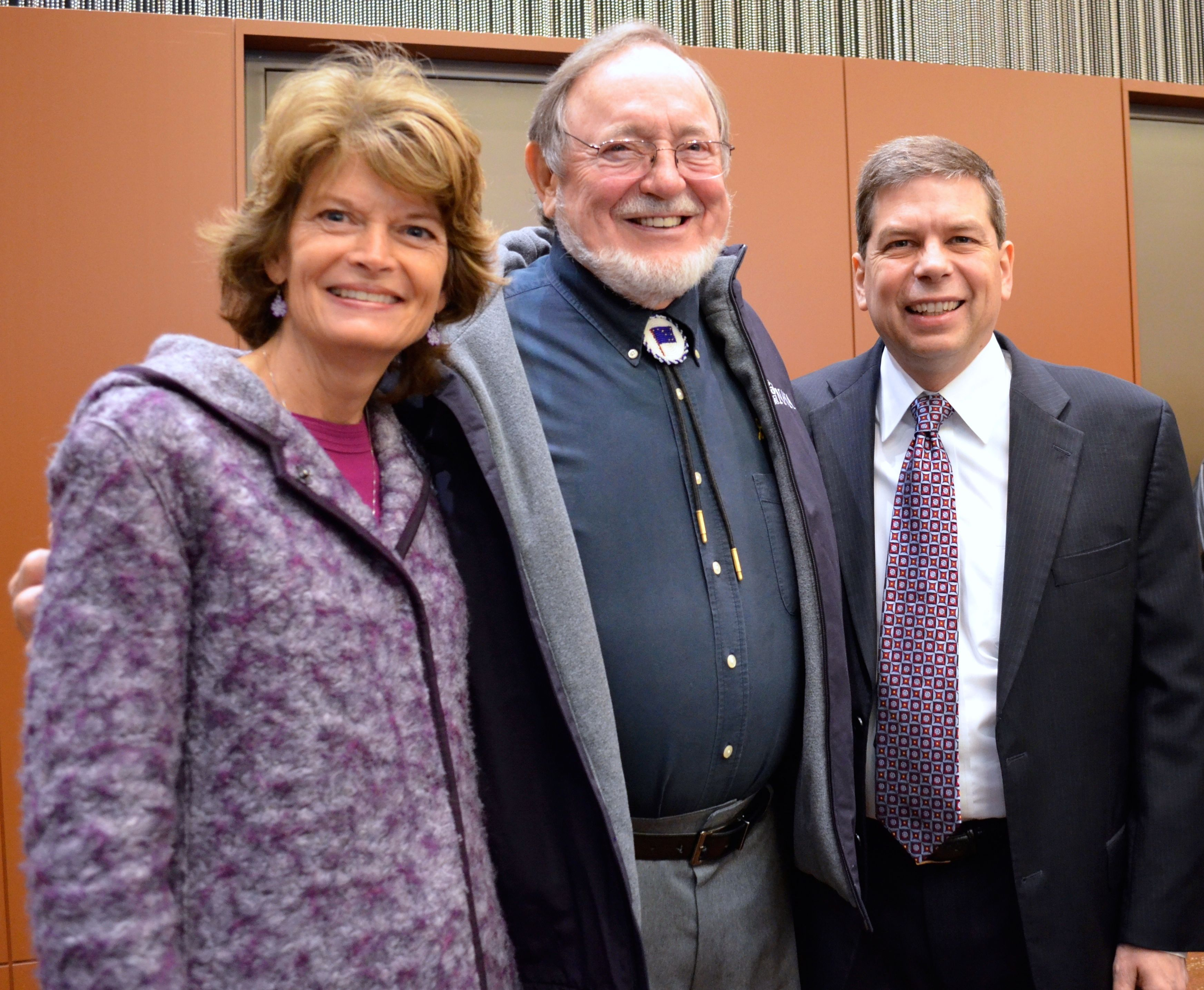 Sen. Lisa Murkowski, Rep. Don Young and Sen. Mark Begich pose for a picture at the 2014 Elders and Youth Conference. (Photo by Jennifer Canfield/KTOO)