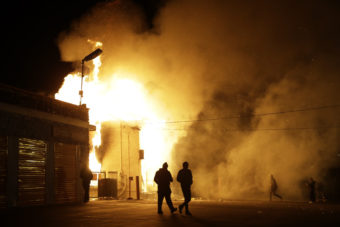 A storage facility in Ferguson, Mo., is on fire following the decision Monday by a grand jury not to charge Officer Darren Wilson in the shooting death of 18-year-old Michael Brown. Demonstrators clashed with police and set buildings on fire. St. Louis County Police Chief John Belmar said the unrest was worse than that which erupted after Brown was killed in August.