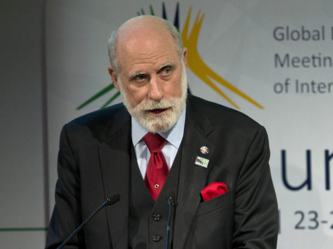 """Vint Cerf in a photo from last year. Cerf is warning of a possible """"digital Dark Ages"""" if the world's data isn't permanently preserved. Andre Penner/AP"""