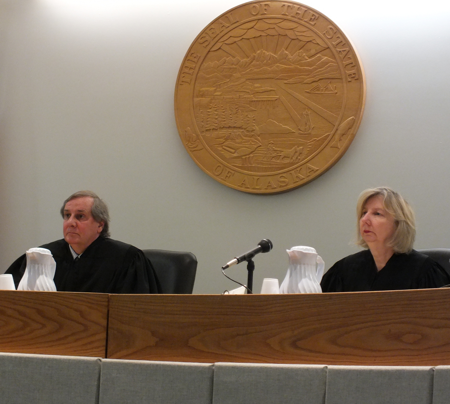 Alaska Supreme Court Justice Daniel Winfree and Chief Justice Dana Fabe listen to oral arguments in Juneau on Tuesday. (Photo by Matt Miller/KTOO)