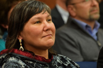 Valerie Davidson, commissioner designee of Alaska's Department of Health and Social Services listens to the State of the State Address, Jan. 21, 2015. (Photo by Skip Gray/360 North)