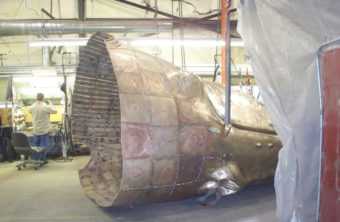 The bronze, life-size whale statue at a workshop. (Photo courtesy City and Borough of Juneau)