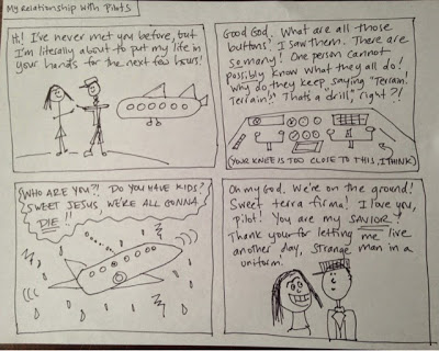 """""""My Relationship with Pilots: A Comic."""" Courtesy of Libby Bakalar"""