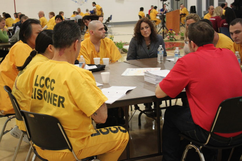 This is the eighth year Success Inside and Out has been held at Lemon Creek Correctional Center. The day's events took place inside the prison gym. (Photo by Lisa Phu/KTOO)