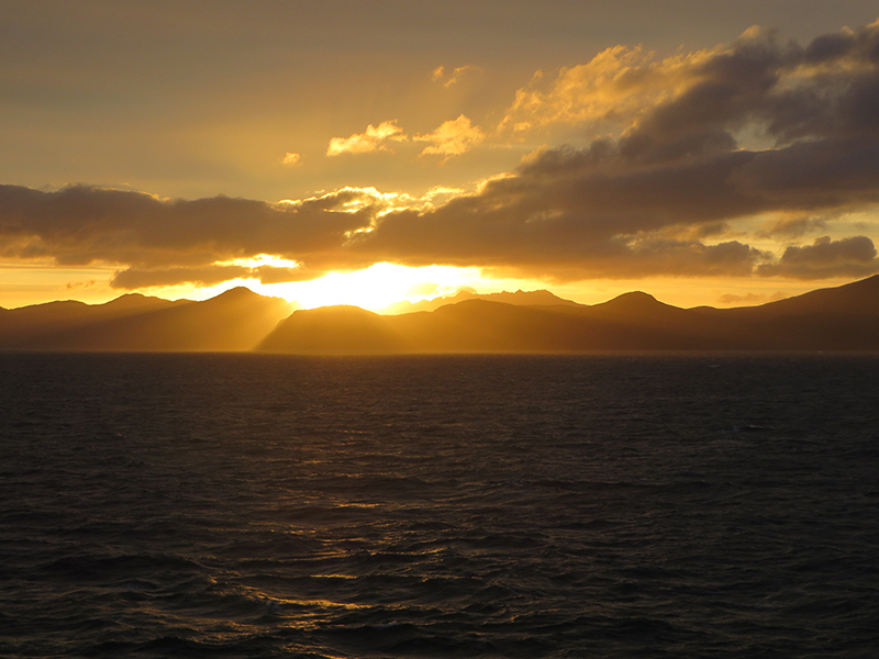 Sun sets over the Aleutian Islands in Sept. 2013. (Photo courtesy of NOAA's National Ocean Service)