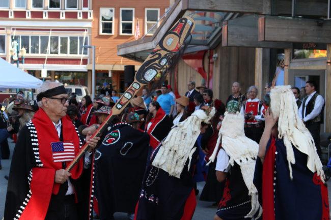 The Aangun Yatx'i dance in their regalia in front of the Walter Soboleff building.  (photo by Elizabeth Jenkins/KTOO)