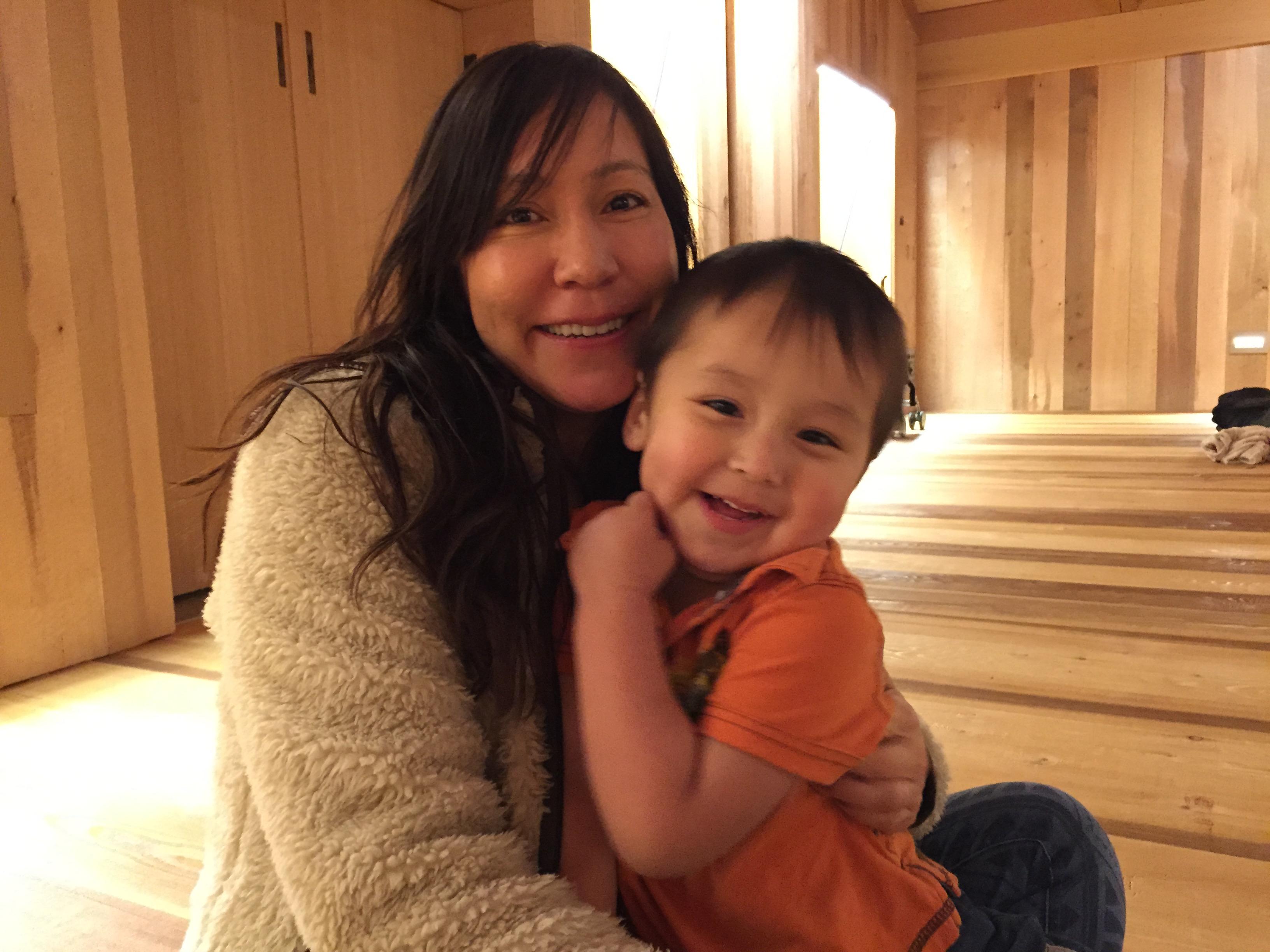 Pamela Craig and her son, Kee Night Gun Cole. (Photo by Lisa Phu/KTOO)