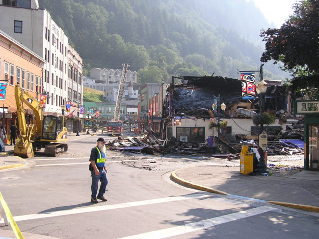 The aftermath of the 2004 fire that destroyed the Skinner Building. (Creative Commons photo by Gillfoto)