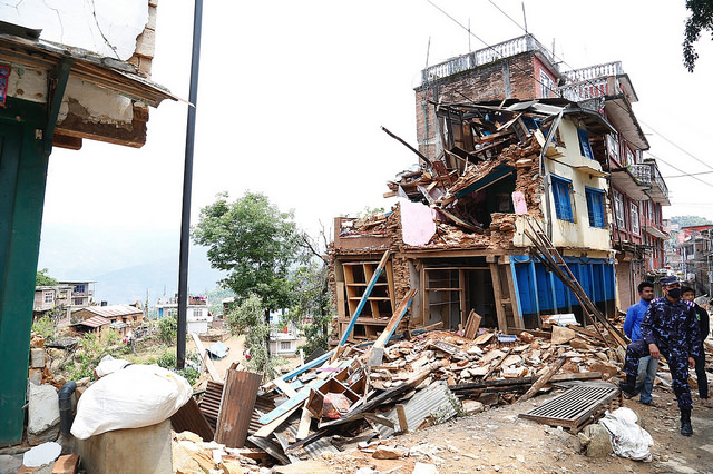 Kathmandu, Nepal after a 7.8 magnitude eartquake in April. (Creative Commons photo by UK Department for International Development)
