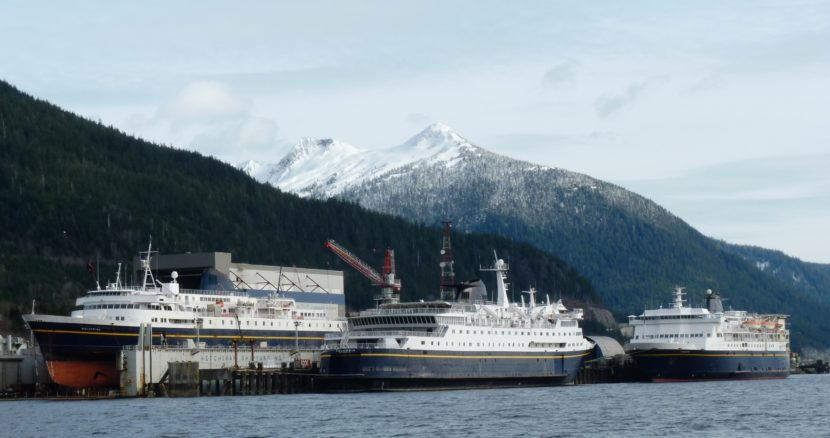 Three ferries dock at the Ketchikan Shipyard in 2012. Four ships are slated to be tied up for the 2016 season. (Photo by Ed Schoenfeld/CoastAlaska News)