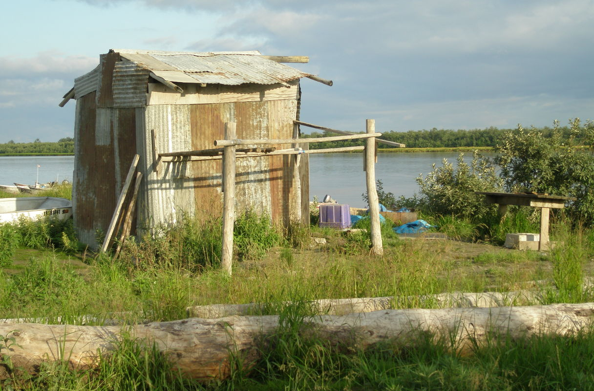 smokehouse and fish rack in Emmonak. (Photo courtesy of Alaska Department of Fish and Game)