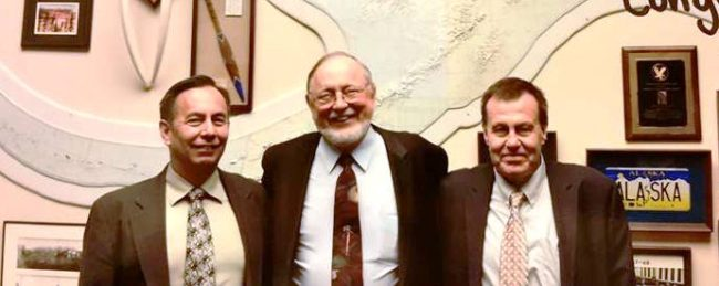 U.S. Rep. Don Young poses in his office with Sealaska board member Richard Rinehart, right,  and landless spokesman Leo Barlow, left. Barlow and Reinhart were lobbying for Young's landless Natives legislation. (Photo courtest Don Young's office.)