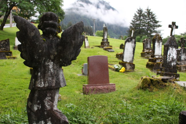 """The Evergreen Cemetery is split up into different sections.  This is the """"Serbian"""" part of the grounds. (Photo by Elizabeth Jenkins/KTOO)"""