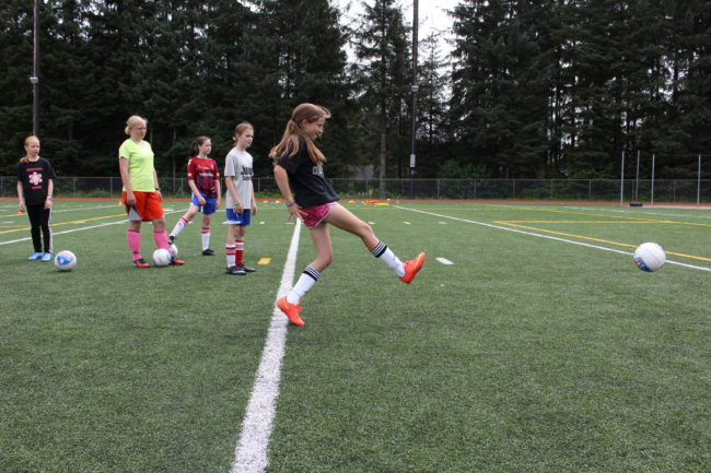 Juneau Soccer Club hosts the coed camp which teaches kids about the global sport. (photo by Elizabeth Jenkins/KTOO)