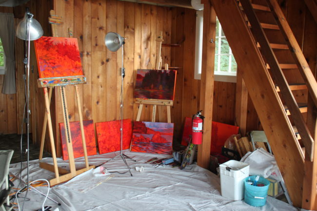 Baltuck says she'll leave an easel for other artists this summer. (Photo by Lisa Phu/KTOO)