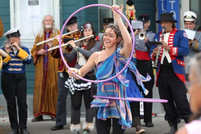 "A New Old Time Chautauqua performer in the streets of Wrangell, June 26, 2015. (Photo by Zachary ""Skip"" Waddell/New Old Time Chautauqua)"