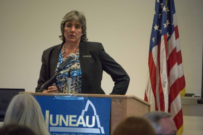 Office of Management and Budget Director Pat Pitney addresses the Juneau Chamber of Commerce, July 16, 2015. (Photo by Jeremy Hsieh/KTOO)