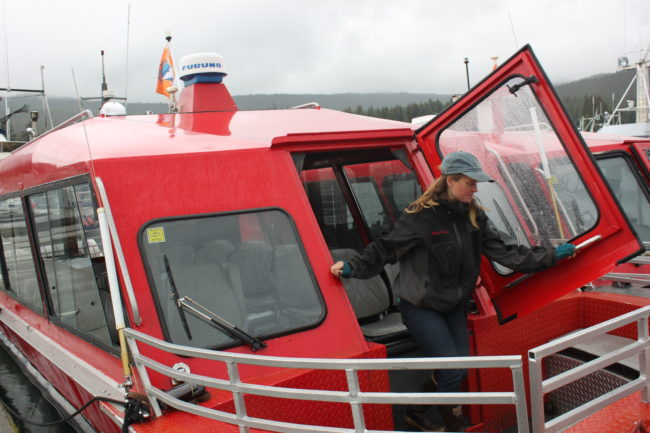Kathleen Turley has worked for Dolphin Jet Boat Tours for 12 years. (Photo by Lisa Phu/KTOO)