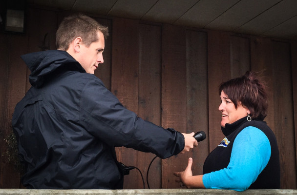 KNOM reporter Matthew Smith interviews Nome City Manager Josephine Bahnke earlier this month. Bahnke will step in as the Division of Elections Director in October. (Photo by John Handeland)