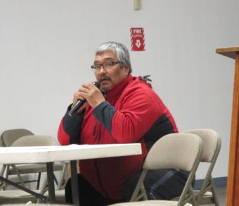 Mike Williams addresses the Yupiit Nation forum. (Photo by Ben Matheson / KYUK)