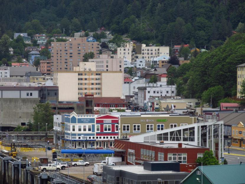 The view of South Franklin Street from aboard a cruise ship June 20, 2011.