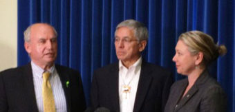 Alaska Lt. Gov. Byron Mallott, center, holds a press conference in May with B.C. Mines Minister Bill Bennett and Environment Minister Mary Polak. Bennett and other officials visit Southeast Alaska Aug. 24-27.(Photo courtesy B.C. government)