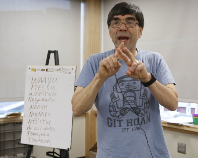 Boxley teaches the class how to introduce themselves in Tsimshian. (Photo courtesy Brian Wallace/Sealaska Heritage Institute)
