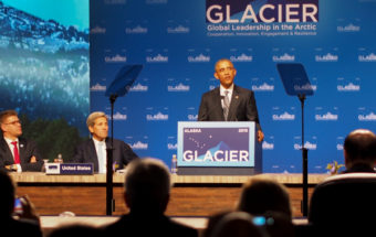 Obama delivers closing remarks at the GLACIER conference, focusing on the ways climate change is already taking a dramatic toll on Alaska. (Photo by Zachariah Hughes/KSKA)