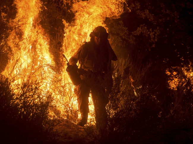 A firefighter lights a backfire while battling the Butte Fire near San Andreas, Calif., on Saturday.