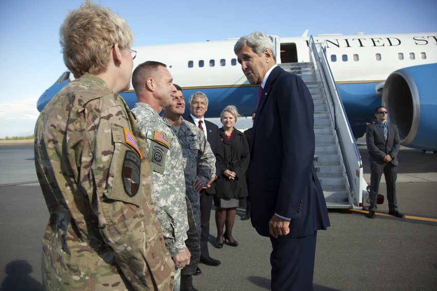 Secretary of State John Kerry arrives in Anchorage Aug. 30. Lt. Gov. Byron Mallott, in suit, and First Lady Donna Walker are among those greeting the secretary. (Photo courtesy Office of Gov. Walker)