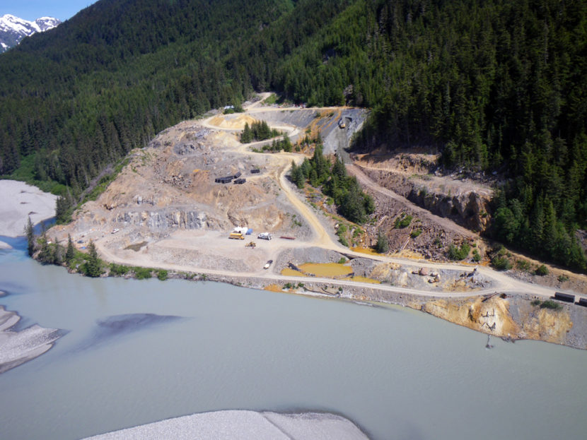 The Tulsequah Chief Mine is on the banks of its namesake river, which flows into the Taku River , which enters an ocean inlet about 25 miles northeast of Juneau. (Photo by Joe Hitselberger/ADF&G)