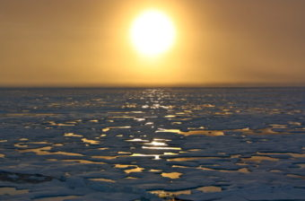 Arctic waters seen from the U.S. Coast Guard Cutter Healy. (Photo courtesy of the NASA Goddard Center)