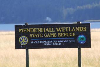 Mendenhall Wetlands sign