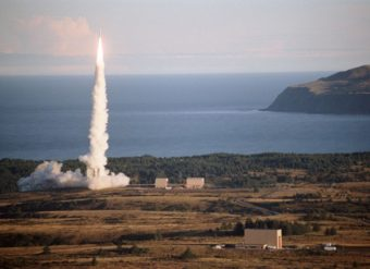 A rocket takes off from the from the Kodiak launch facility. (Photo courtesy of Alaska Aerospace Corporation)