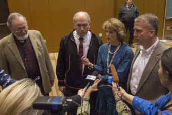 Alaska's congressional delegation and governor gather with press after the Department of the Interior's surprise announcement of the cancellation of off-shore drilling leases. (Photo by Mikko Wilson/KTOO)
