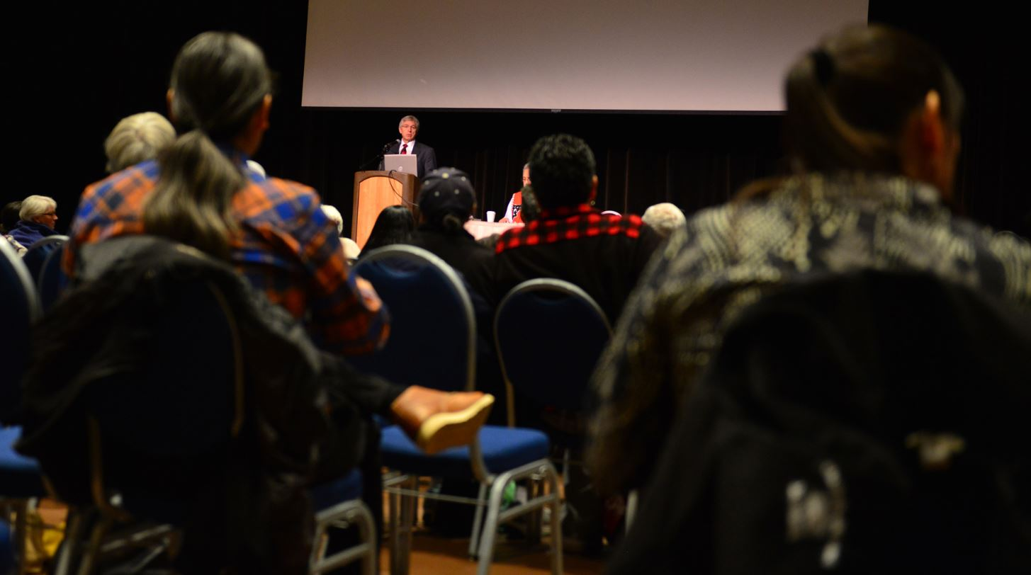 """Lt. Gov. Byron Mallott was one of several Tlingit leaders to give welcoming remarks at """"Sharing Our Knowledge: A Conference of Tlingit Tribes and Clans"""" on Thursday morning at Centennial Hall. (Photo courtesy Office of the Lieutenant Governor)"""