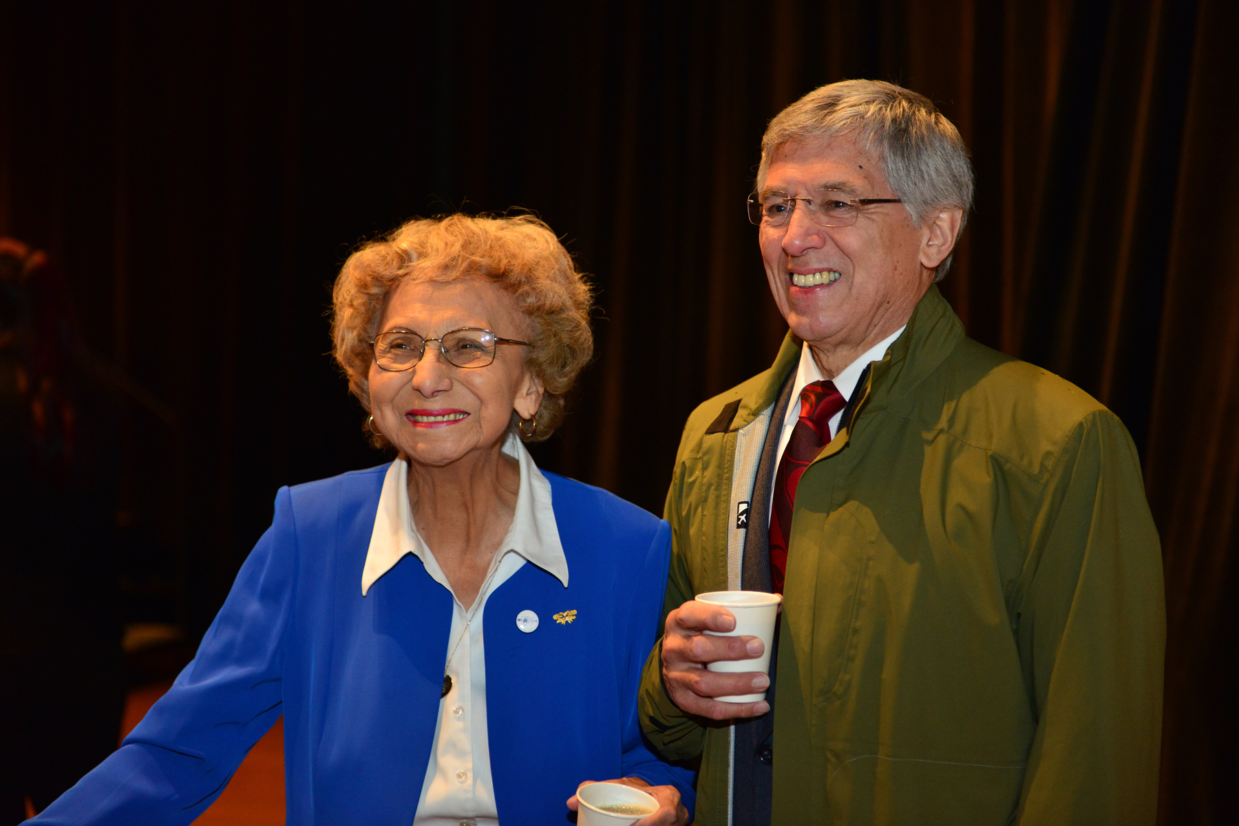 """Selina Everson and Byron Mallott at the opening of """"Sharing Our Knowledge: A Conference of Tlingit Tribes & Clans."""" Everson gave the invocation. (Photo courtesy Office of the Lieutenant Governor)"""