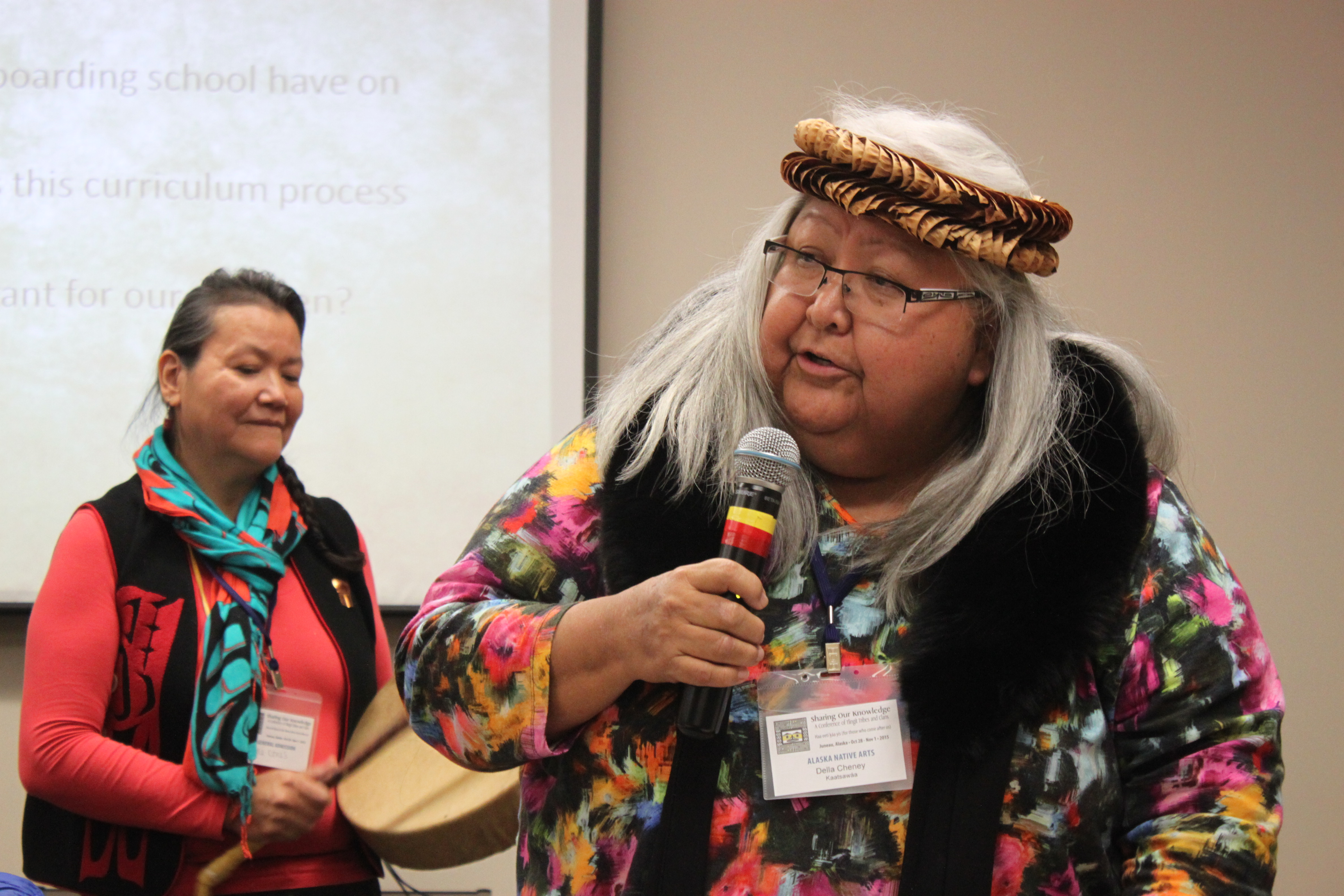 """Tlingit elder Della Cheney talks during a panel discussion on boarding schools at the """"Sharing Our Knowledge; A Conference of Tlingit Tribes & Clans."""" In the 1920s and 1930s, Cheney's parents attended Sheldon Jackson School in Sitka. (Photo by Lisa Phu/KTOO)"""