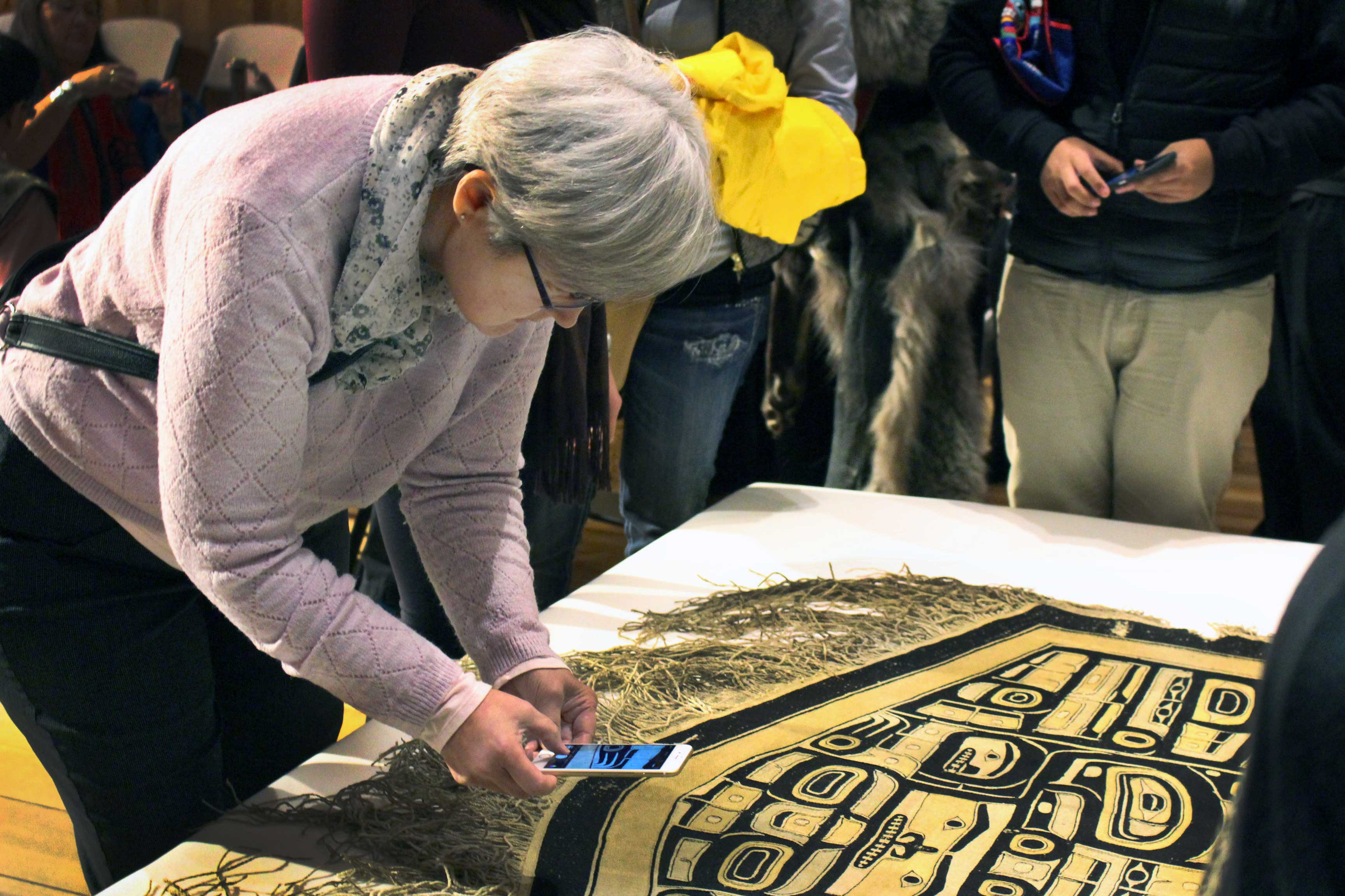 The Sealaska Heritage Institute recently acquired a Chilkat robe believed to be a funerary object. (Photo by Elizabeth Jenkins/KTOO