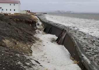 """With the bay not freezing the last three winters, storms have ripped earth away from the Togiak seawall. """"It's starting to collapse,"""" said city administrator Darryl Thompson after two harsh storms slammed the coast in less than a week. (Photo courtesy of City of Togiak)"""