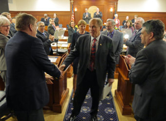 Gov. Bill Walker exiting House Chambers - State of the State - 1