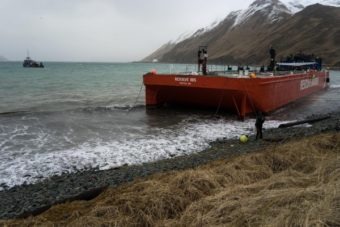 The bright orange Resolve Ibis (far left), an oil spill response barge capable of sopping up over 20,000 gallons of fuel, has a five-year mooring permit from the Alaska Department of Natural Resources. Photo by Ethan Nichols)