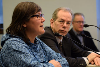 Valerie Davidson and John Sherwood in committee