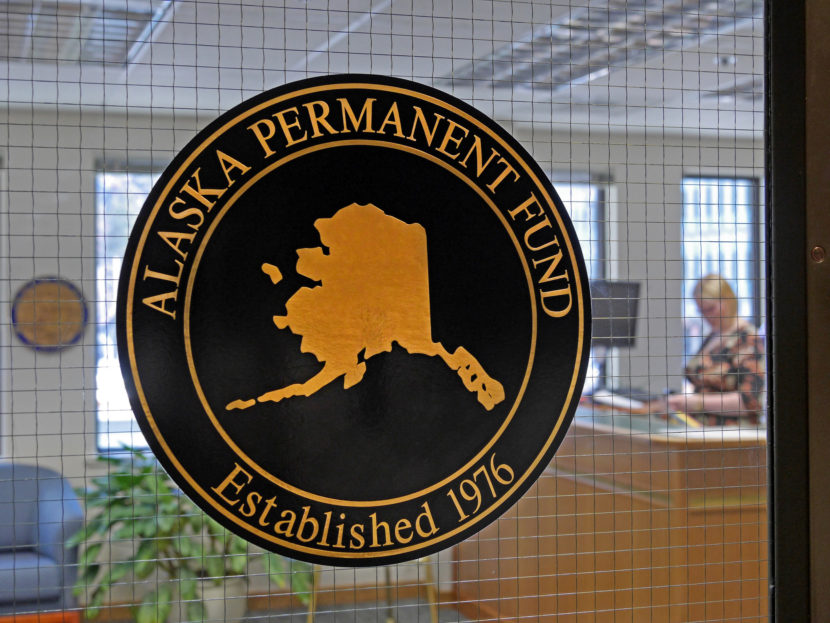 An Alaska Permanent Fund seal marks the office of the Alaska Permanent Fund Corp. in Juneau on March 14, 2016. The Alaska Legislature passed a bill Tuesday proposed by Gov. Bill Walker to draw money from the fund to pay for state government.