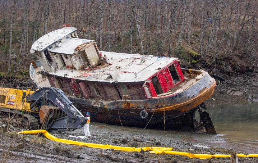 Excavators prepare to demolish the tug Challenger on March 7, 2016 (Photo by Mikko Wilson/KTOO)