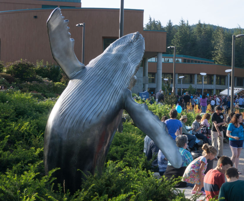 Bronze whale sculpture at UAS