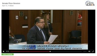 Sen. Lyman Hoffman, D-Bethel, speaks in support of Senate Bill 196 on April 13 in this screenshot from the Gavel archive.