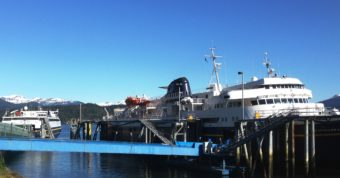 The ferries Matanuska, right, and Fairweather, left, tie up at Juneau's Auke Bay Ferry Terminal May 19. 2016. (Photo by Ed Schoenfeld/CoastAlaska News)