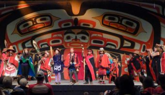 Taku Kwaan dancers perform June 10 as part of Celebration 2016. The group is from Atlin, British Columbia, and included relatives in Juneau. (Photo by Ed Schoenfeld/CoastAlaska News)