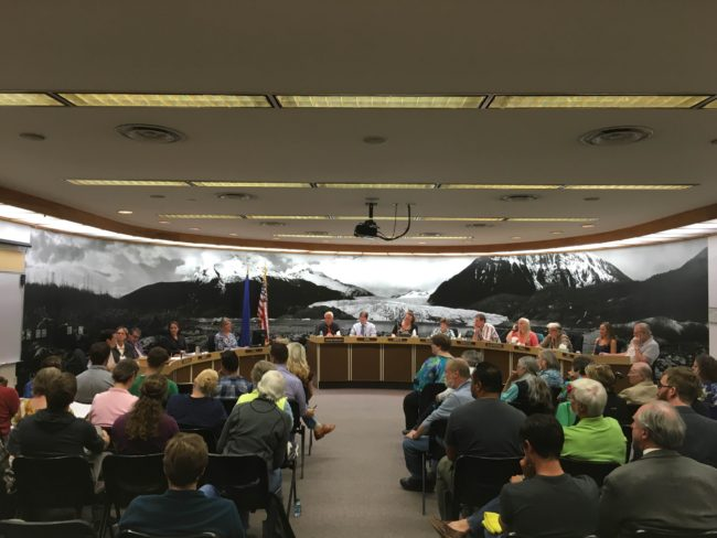 More than 60 people crowded into the Juneau Assembly Chambers to listen to testimonies on Juneau's proposed anti-discrimination ordinance. (Photo by Lakeidra Chavis/ KTOO)